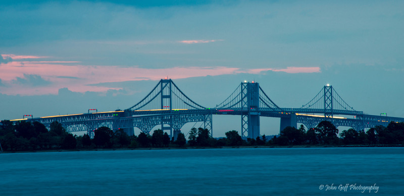 Lights On The Bridge<br /> Sunrise US Naval Academy Golf Course and Pier<br /> Annapolis, Maryland
