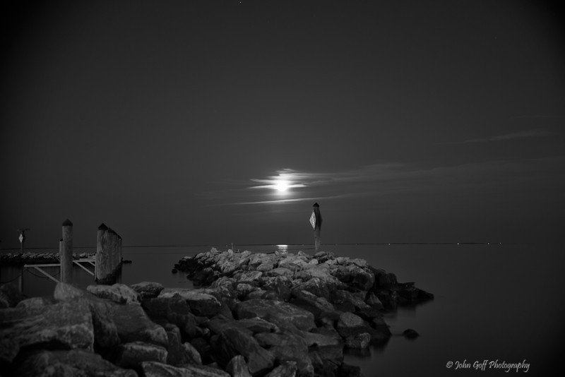 End of the Jetty<br /> Moon Rise,  <br /> North Beach,  Maryland