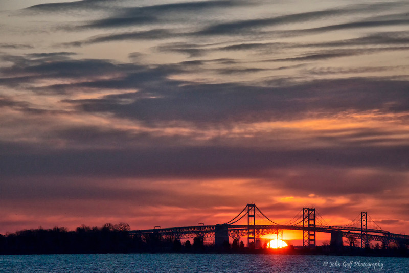 Popping Up<br /> Sun Rise Over Chesapeake Bay Bridge<br /> Annapolis, Maryland
