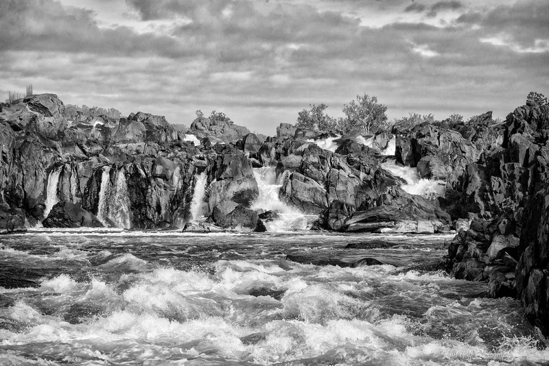 Great Falls In The Fall  (Black & White)<br /> Great Falls