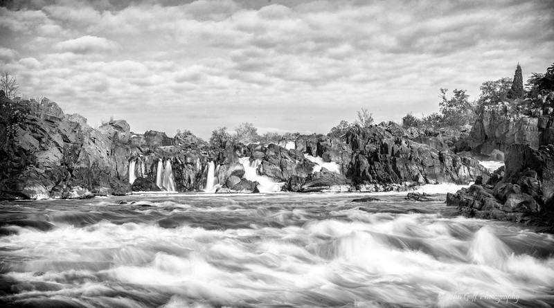 Moving Water  (Black & White)<br /> Great Falls