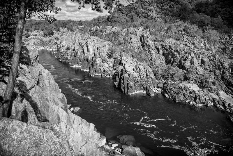 Flowing Down River (Black & White)<br /> Great Falls