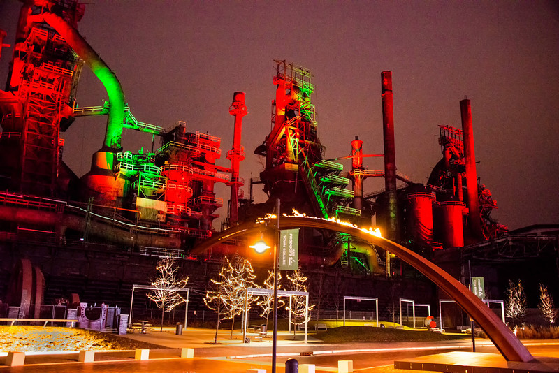 Red and Green Stacks<br /> Color SteelStacks at Christmas<br /> Bethlehem Pennsylvania