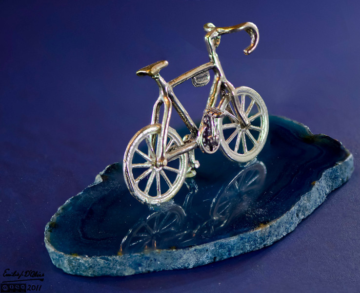 (Note: see the B&W gallery for an explanation of how these were shot)<br /> <br /> This miniature bicycle was give to me by my mother for one of my birthdays.  It is very small.  The bike itself can't be more than 3/4 of an inch tall if that.