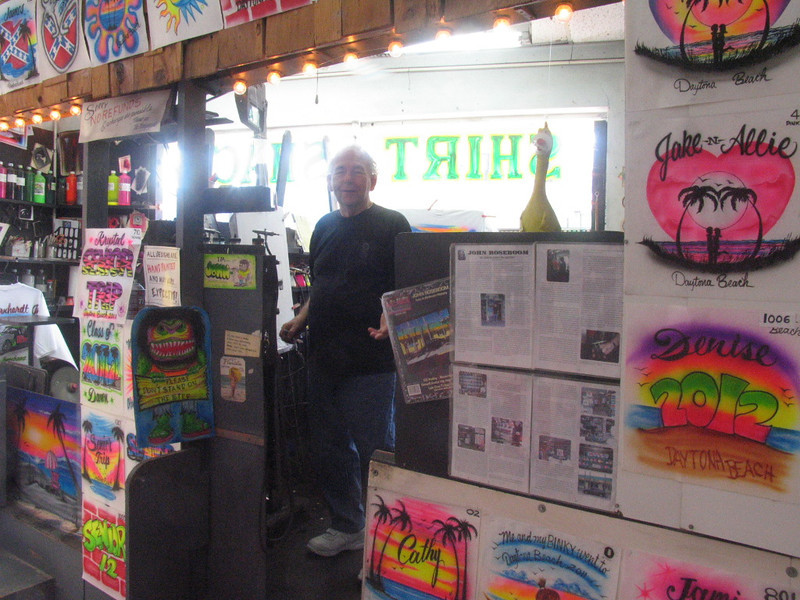 Shirt Shack owner/airbrush artist.  This dude is still painting, 50 years in the same spot!!
