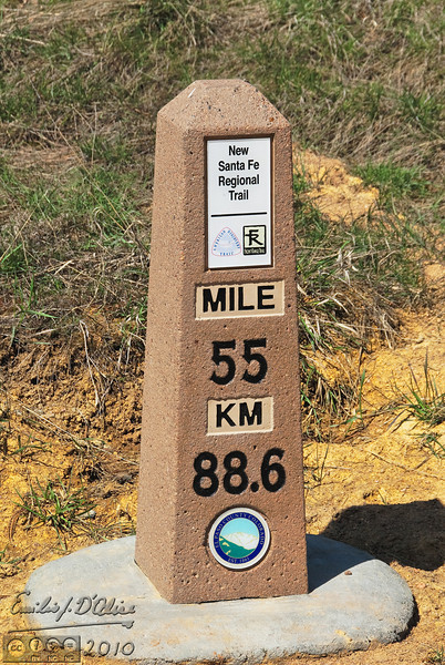 Mile marker for the Santa Fe Trail just South-East of Palmer Lake