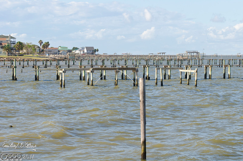 From the pier, looking North.  More old and rebuilt piers.