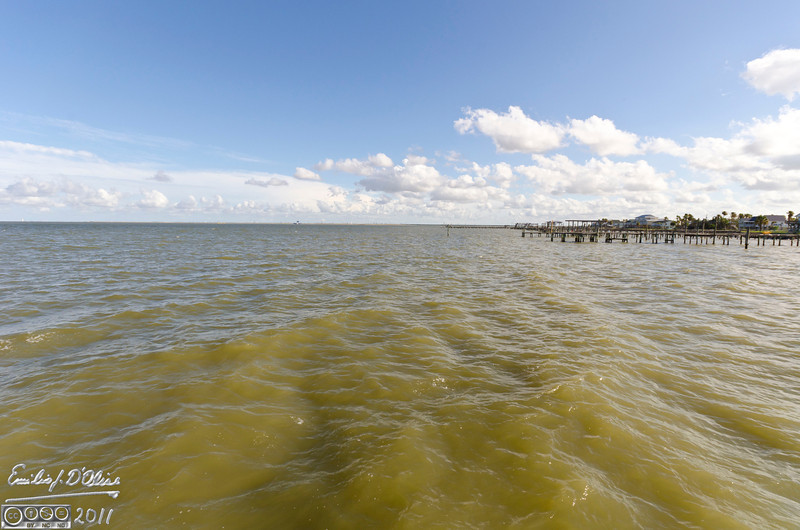 What the water looks like from the end of the pier looking South.