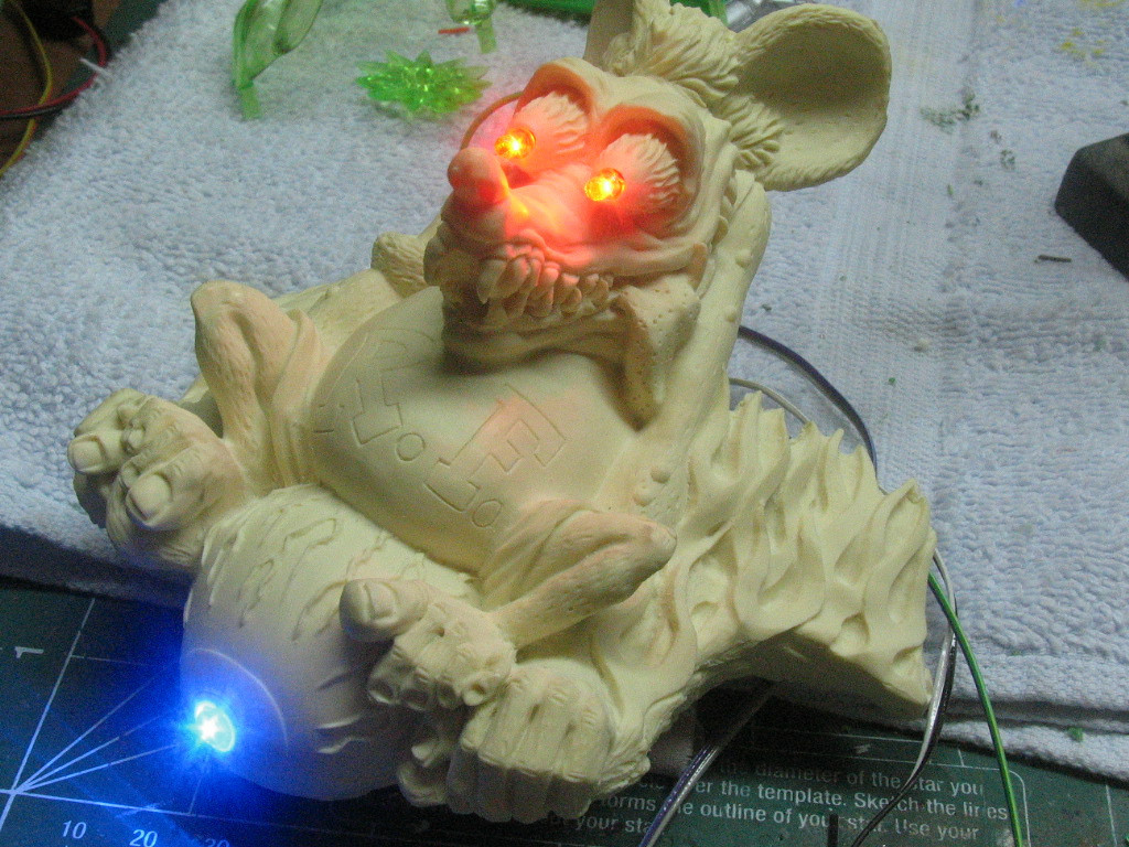 Resin RAt Fink riding Flying Eyeball will mount between the handlebars of my custom minibike I'm building!  I drilled him out for LED lighting!!!
