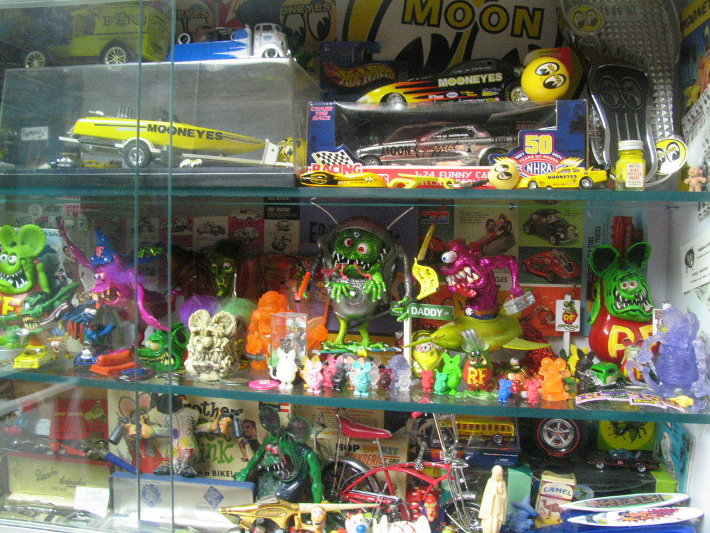 The small gumball machine Rat Finks on the second shelf were mine when I was a kid!  Lot's of Fink related items in this cabinet, including original model boxes from the 60's!
