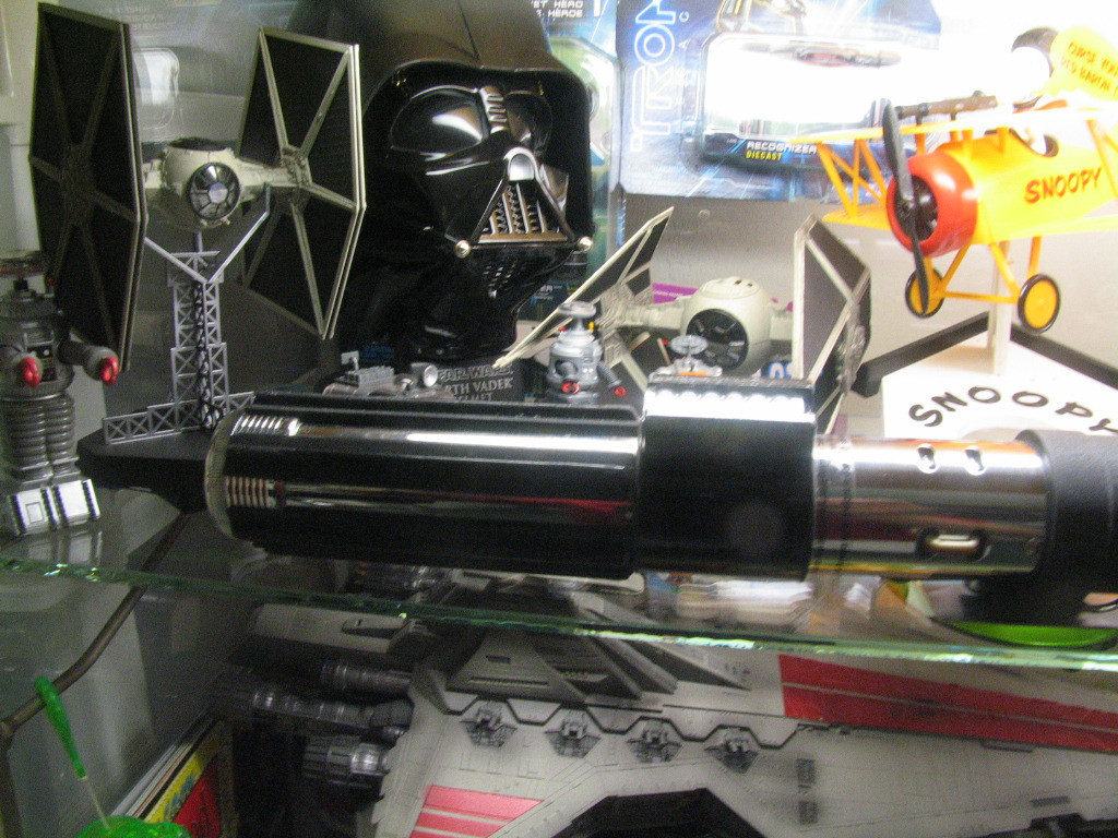 Tie Fighter, talking Darth Vader helmet, working light saber.....Nirvana for space nerds!