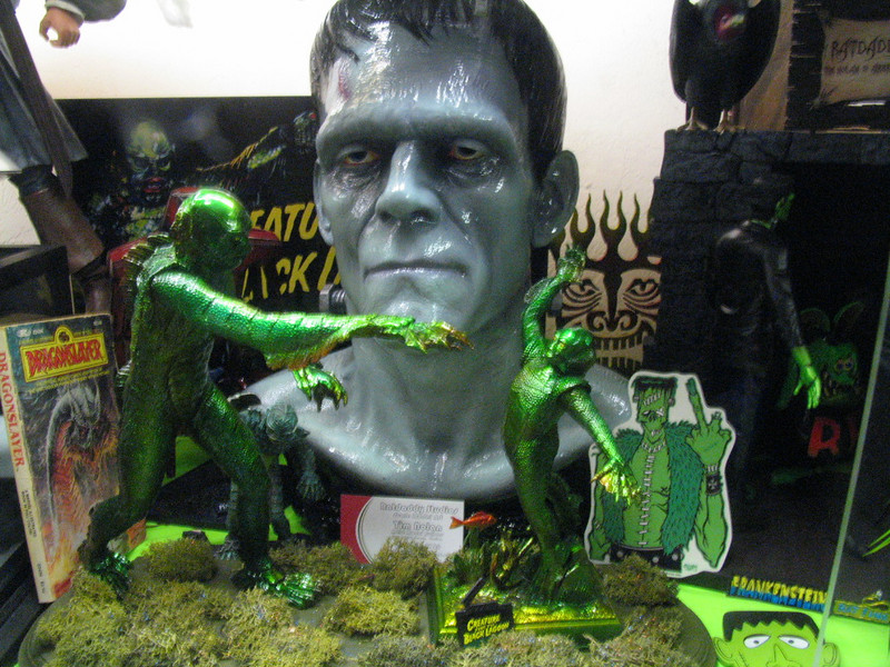 Lifesize Frankenstein head amongst Creatures from the Black Lagoon