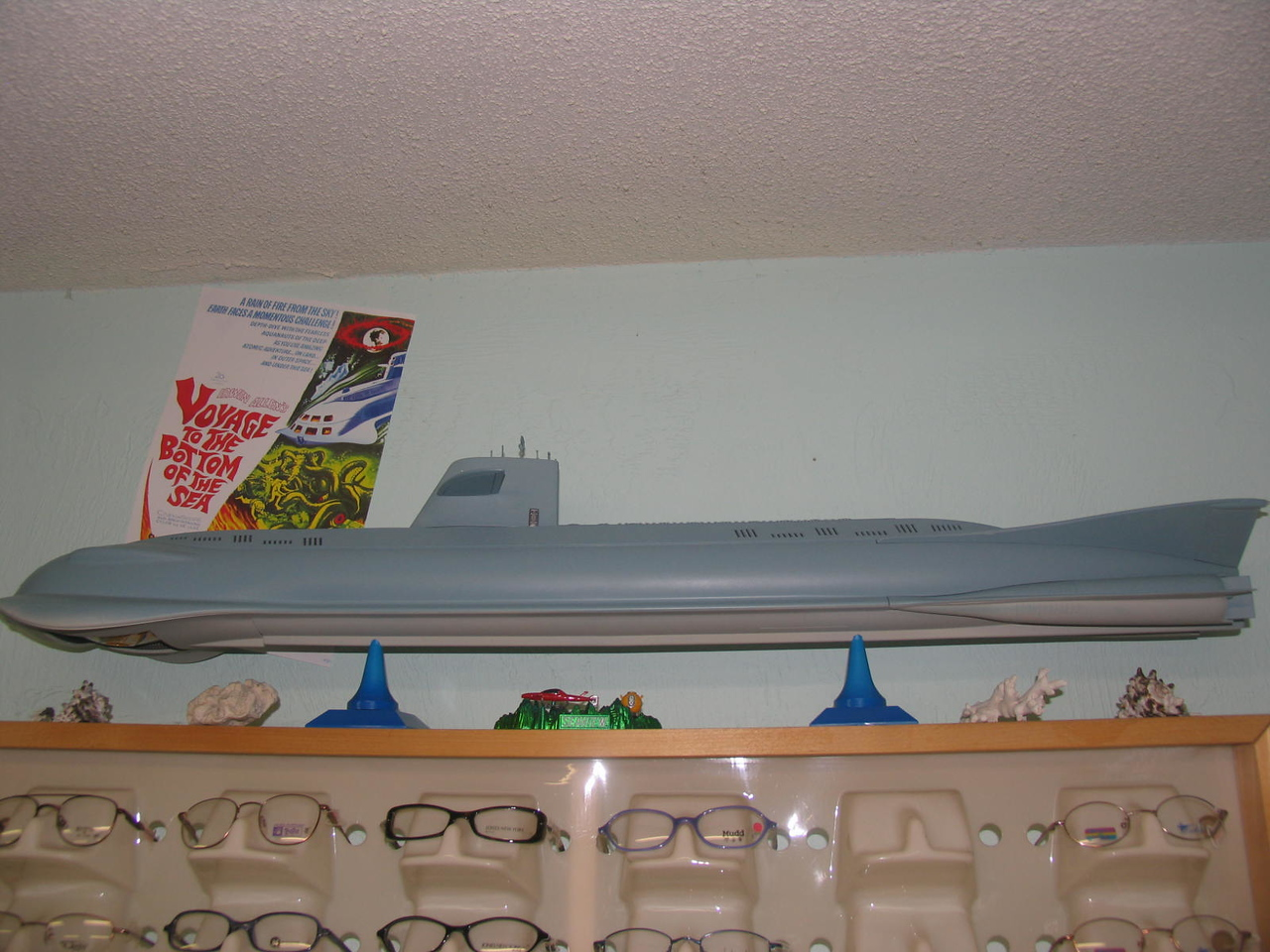 "3 ft. long ""Seaview"" sub from ""Voyage to the bottom of the sea"" on display in my front room of my office."