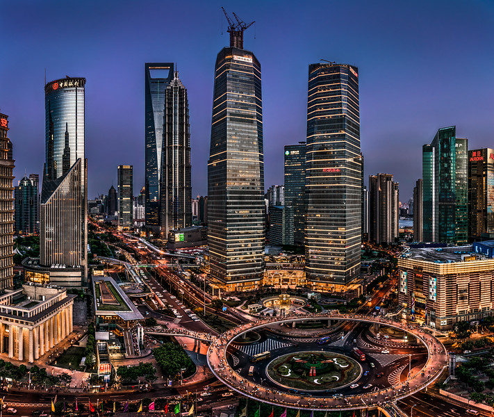 Center of Shanghai in evening
