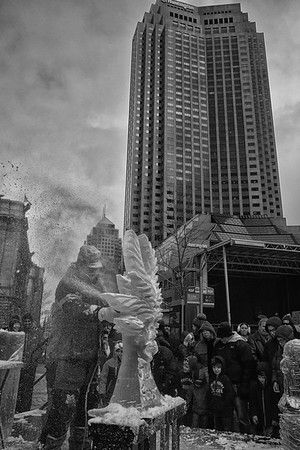 Ice Carving Social Sunday at Public Square, Cleveland, Ohio