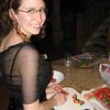 Becca cutting strawberries