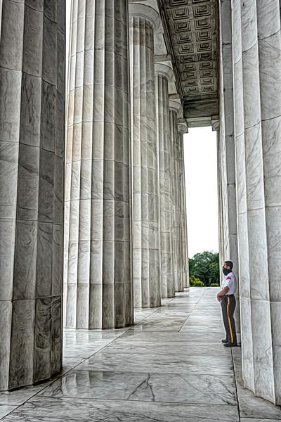 The guard at Lincoln Memorial