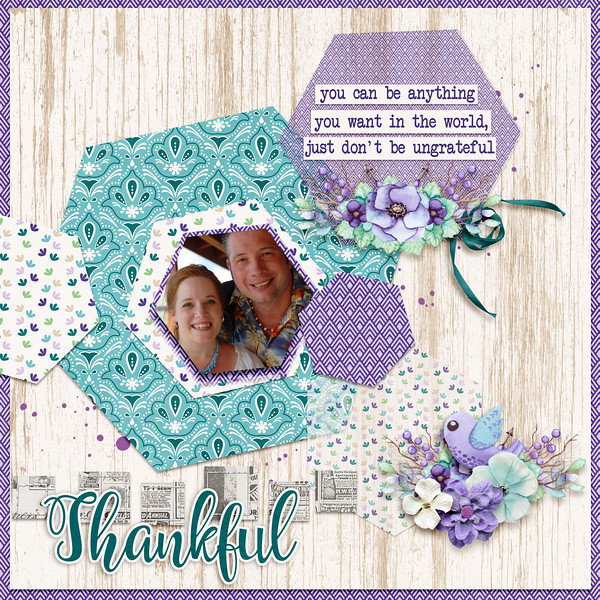 Digital Scrapbook Page using CAP Thankful mini kit Nov2018