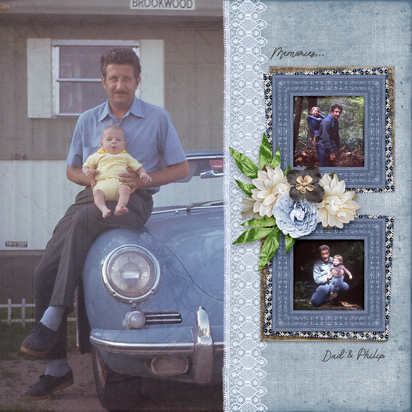 Baby Phil with Dad, 1973-1974 using november mini kit by adb designs