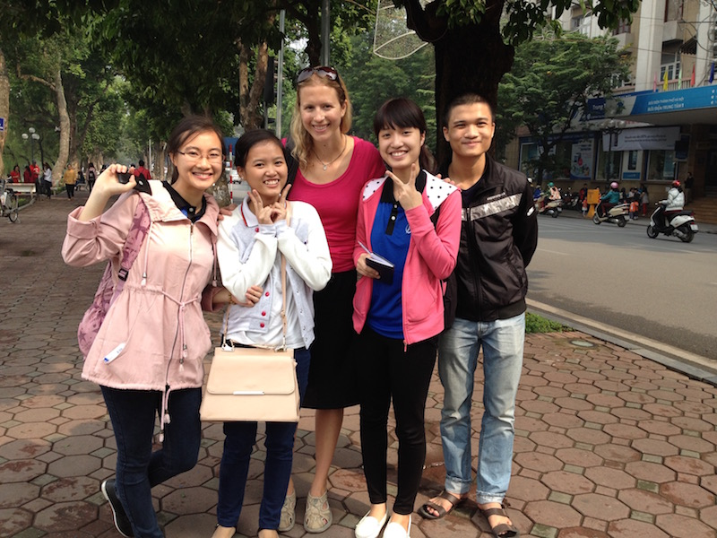 Brianne Miers and local students in Hanoi, Vietnam