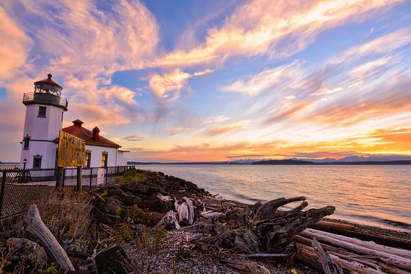 Alki Lighthouse At Sunset