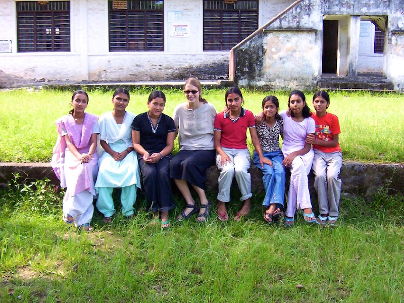 Brianne Miers with students at the Kanya School in Pokhara, Nepal