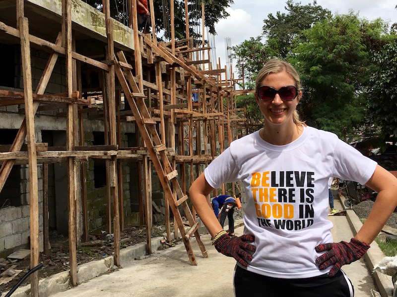 Brianne Miers at a Gawad Kalinga community project in Manila, the Philippines