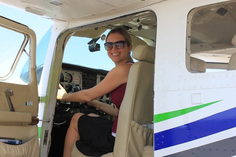 Brianne Miers in an airplane in Nazca, Peru
