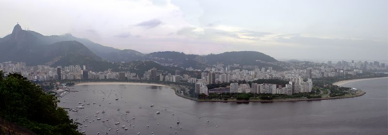 View from Suger Loaf, Corcovado on the Left, and Flamengo Beach far Right.