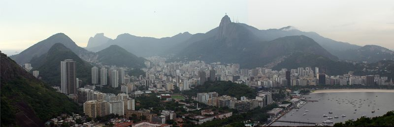 View from Suger Loaf, Corcovado center, and Botafogo Bay at the Right.