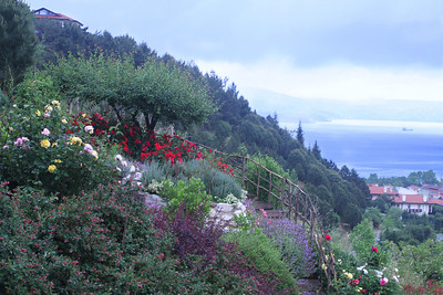 Bahçe ve boğaz manzarası