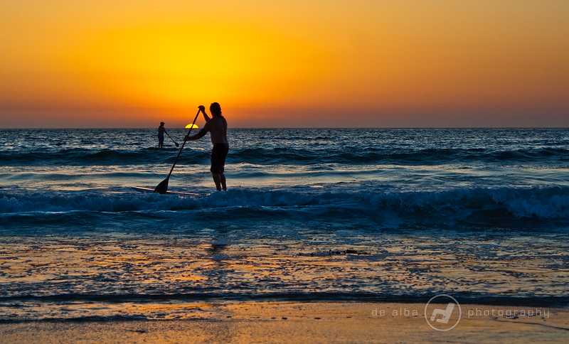Stand Up Paddle Surfing in Sunset
