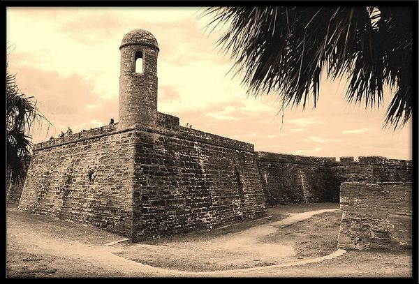 The Castillo de San Marco in St. Augustine, FL -  it's an old city so I thought my photos should look old too - I played with Sepia and this is the result.
