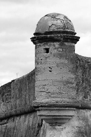 The North East Tower of the Catillo in St. Augustine - conveted to BW.  This fort took 23 years to build and has been protecting the old city of St. Augustine, FL for hundreds of years (since the late 1600s, I believe).  It seems to be holding up well although the only attackers these days are hordes of tourists (which btw - we love, since they pay our state income tax for us every year....)