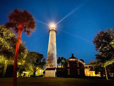 St. Simon Lighthouse at night