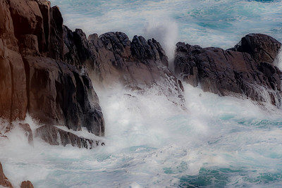 Waves pounding against the rocks