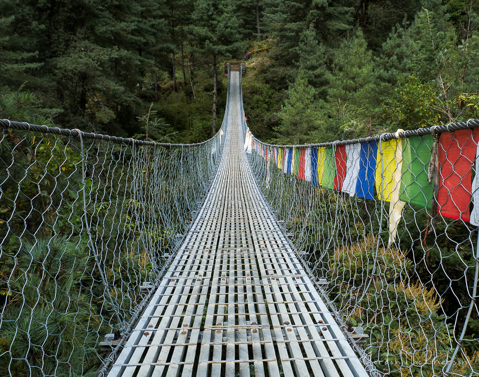 Suspension Bridge with Prayer Flags