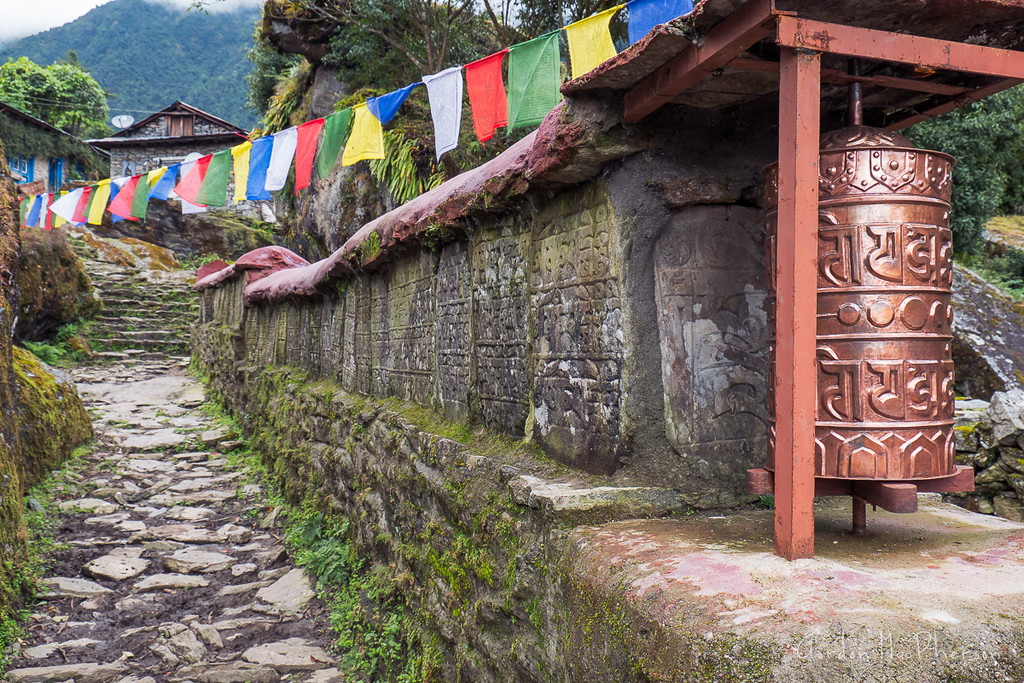 Prayer Wheel, Prayer Flags and Mani Wall