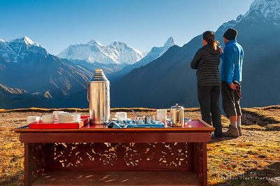 Morning tea looking at Mount Everest