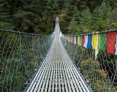 Suspension Bridge with Prayer Flags