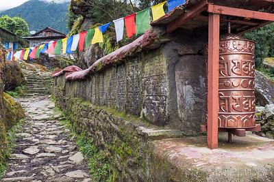 Prayer Wheel, Prayer Flags and Mani Wall