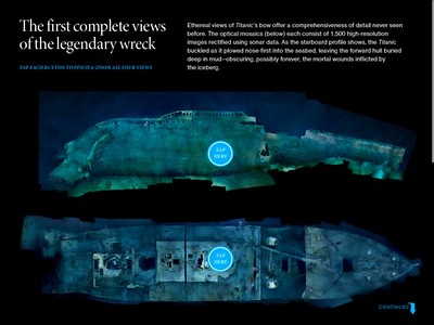 "Contributed to the creation of photo-mosaics of R.M.S. Titanic wreck site produced by the Advanced Imaging and Visualization Lab at Woods Hole Oceanographic Institution for National Geographic cover article, ""Unseen Titanic,"" April, 2012. On iPad and print editions."