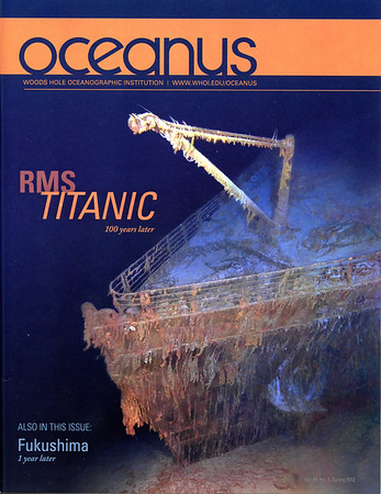 Cover and lead article imagery in Oceanus, the magazine of Woods Hole Oceanographic Institution (WHOI), May 2012. Contributed to the creation of photo-mosaics of RMS Titanic wreck site produced by the Advanced Imaging and Visualization Lab at WHOI. All photo mosaics ©2012 RMS Titanic, Inc. Produced by AIVL, WHOI.