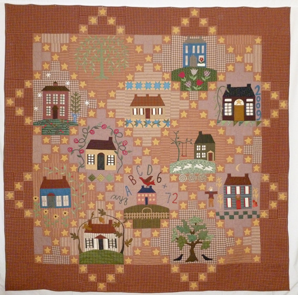 """2013 - Homespun Houses<br /> 96"""" x 96"""" <br /> Top finished in 2009.  Stars reperresentative of many sleepless nights.  Half Log Cabin back and separate pineapple made from remnants."""