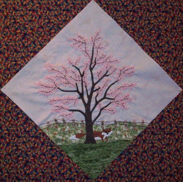 In progress - Tree Quilt<br /> April Cherry tree 02/2010<br /> 14 1/2 inch block  Hundreds of ribbon blossoms