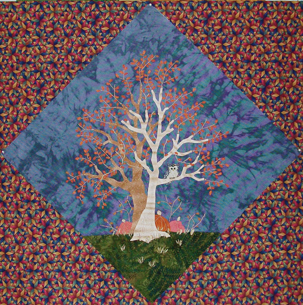 In progress - Tree quilt<br /> 14-1/2 inch block<br /> maples & owl