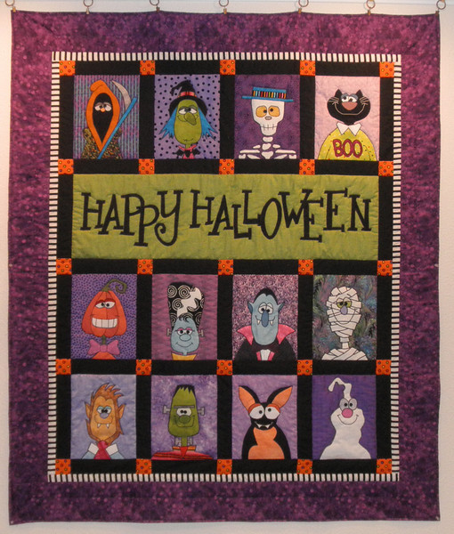 "2011 - Spooky Things<br /> 56""x66""<br /> For Griffin.  Appliques bonded and zigzagged."