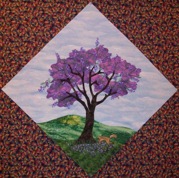 In progress - Tree Quilt<br /> Squirrel & Jacaranda 07/2010<br /> 14 1/2 inch block