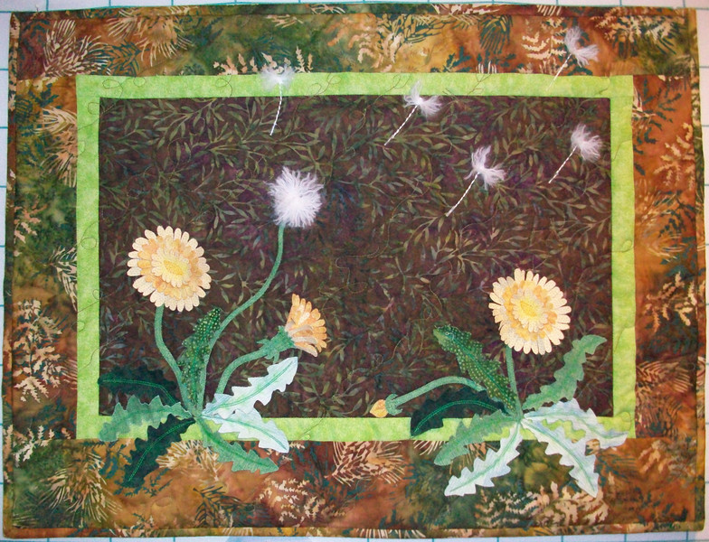 """2010 18"""" x 24"""" Piecing Partners Whisper Challenge<br /> 3D weeds, from previous quilter"""