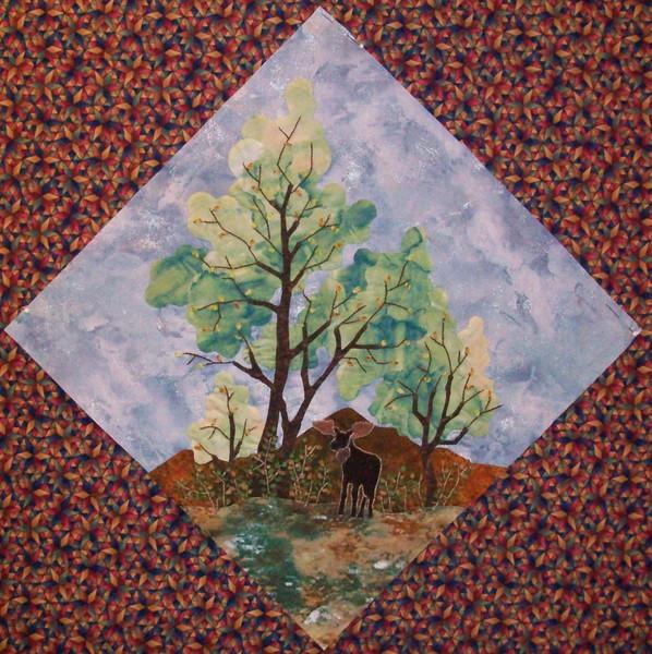 In progress - Tree Quilt<br /> Moose and Cottonwoods 07/2010